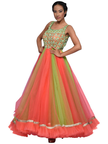 Green And Peach Floor Length Gown By Archana Nallam