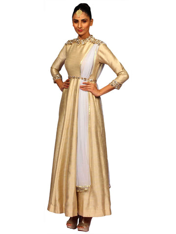 Beige Raw Silk Gown Set by Nidhika Shekhar