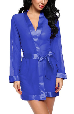 Mesh Robe with Satin Border Nightwear Sleepwear