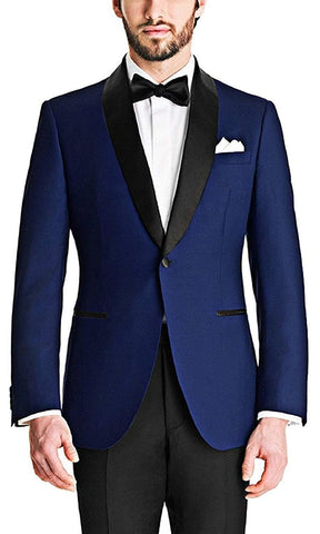 Single Button Slim Tuxedo Blazer with Velvet Collar