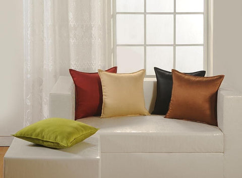 Marcco Solid Color Faux Silk 5 Piece Cushion Cover Set - Multicolor