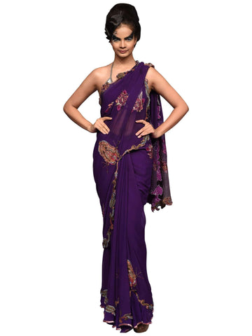 Purple Georgette Saree by Abhishek Dutta - Wear.Style
