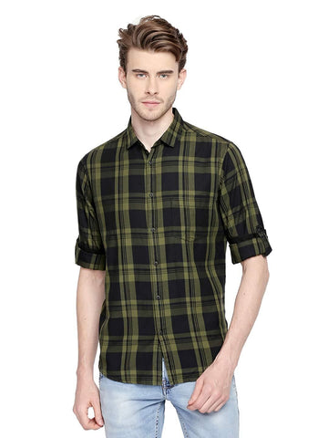 Stylish Full Sleeve Slim Fit Cotton Checkered Casual Shirt