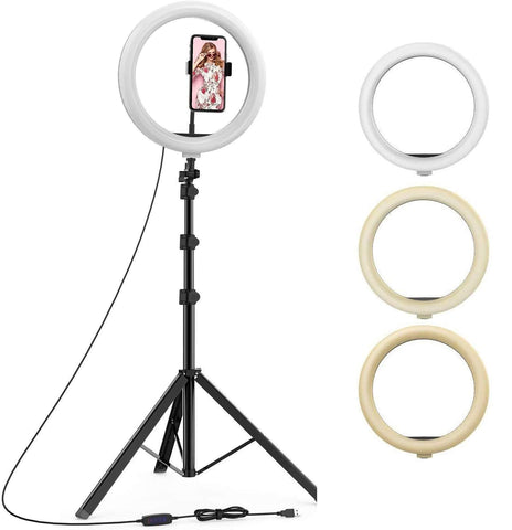 Portable LED Ring Light with 3 Color Modes Dimmable Lighting Compatible with iPhone/Android Phones and Cameras
