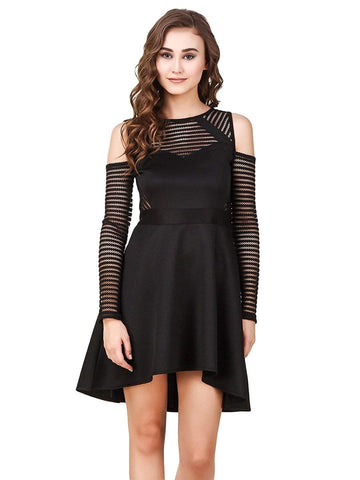 Cut-Out Shoulder Lace Party High-Low Skater Dress