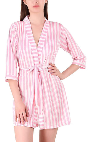 V-Neck Belted Slim Fit Stripe Satin Nightwear Robe Nightdress Sleepwear
