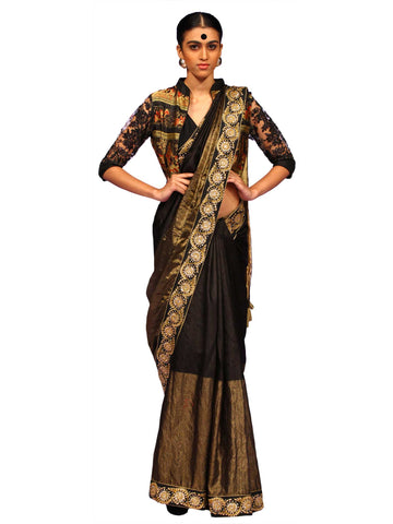 Black Gold Zari Saree With Baluchori Jacket by Chandri Mukherjee
