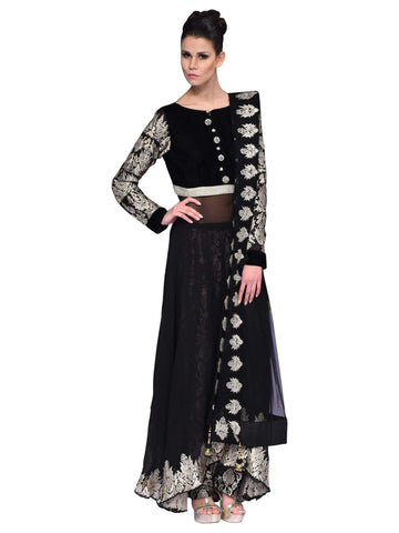 Black And Silver Anarkali By Arshi Jamal