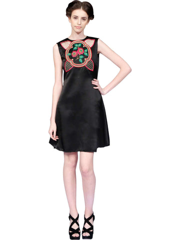 Floral Hand Embroidery Black Dress By Niharika Vivek