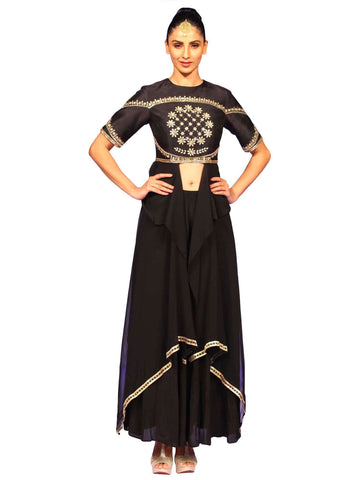 Black Silk Indo Western Suit by Nidhika Shekhar
