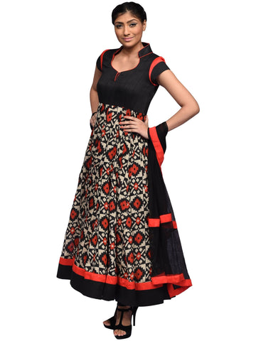 Black And Red Anarkali By Archana Nallam