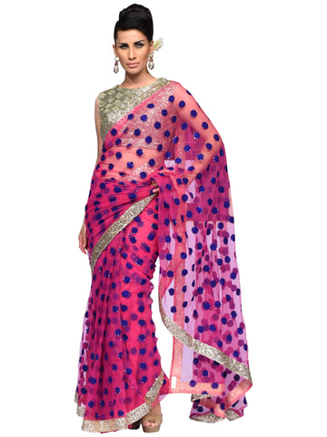 Magenta And Golden Designer Saree By Arun Dhall
