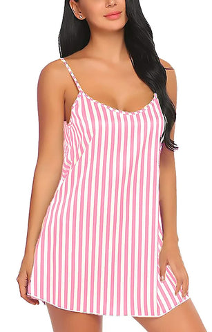 Women Stripe Satin Nightwear Lingerie Sleep Dress with Panty