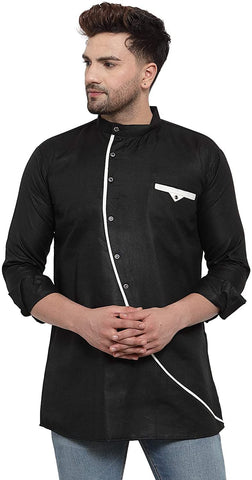 Ankle Length Collar Neck Cotton Blend Short Kurta