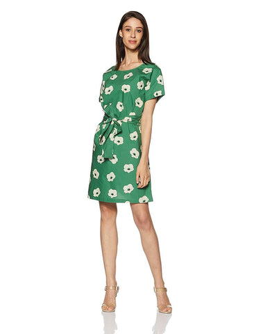 Short Sleeve Printed A-Line Mini Dress with Tie Up Waist