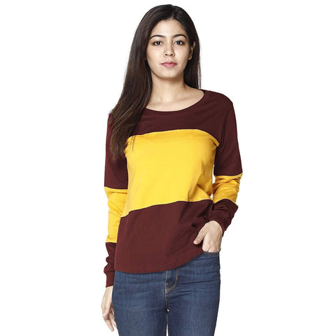 Cotton Blend Round Neck Horizontal Stripes Full Sleeves Tshirt Top