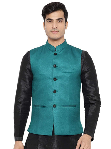 Green Cotton-Blended Indian Traditional Nehru Jacket Waistcoat
