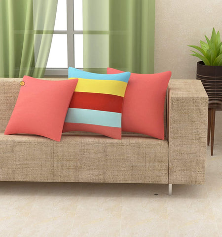 Cotton Canvas Decorative Cushion Covers 16 X 16 Inches Set of 5 & 3, Multi Colour