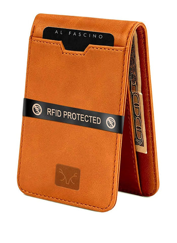 Brown Minimalist Slim Leather Wallet/Purse with RFID Protection