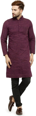 Three Quarter Sleeve Knee Length Cotton Regular Kurta