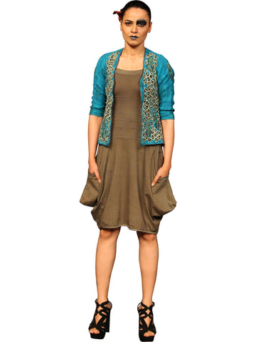 Turquoise Blue Jacket With Brown Dress by Abhishek Dutta
