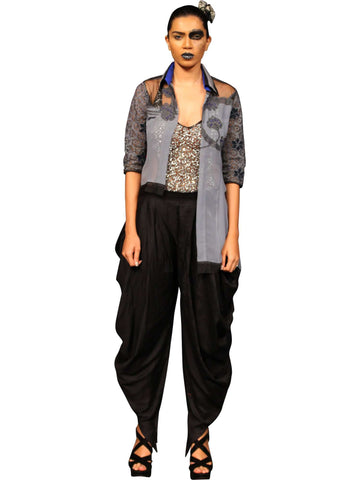 Grey Coloured Open Shirt With Black Dhoti Pants by Abhishek Dutta