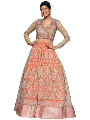 Golden And Dark Pink Long Embroidered Dress By Arun Dhall