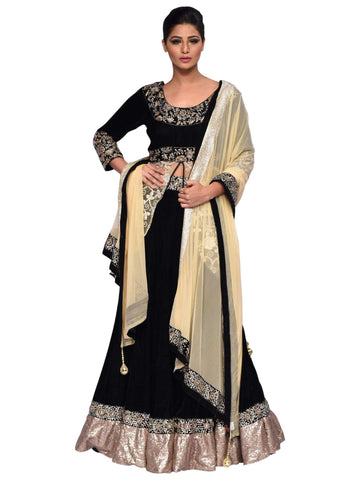 Black And Fawn Lehenga By Arshi Jamal