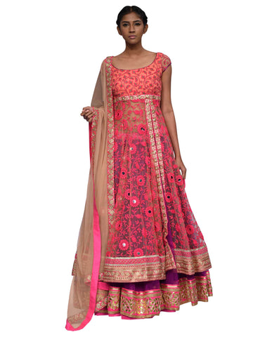 Pink And Beige Sharara By Archana Nallam