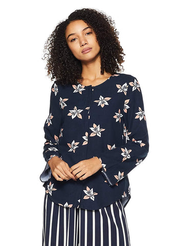 100% Polyester Regular Fit Long Sleeve Printed Top