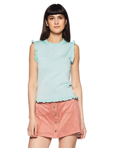 Cap Sleeve Round Neck Frill Cap Sleeve Top