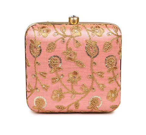 Handicraft Party Wear Hand Embroidered Box Clutch Bag Purse