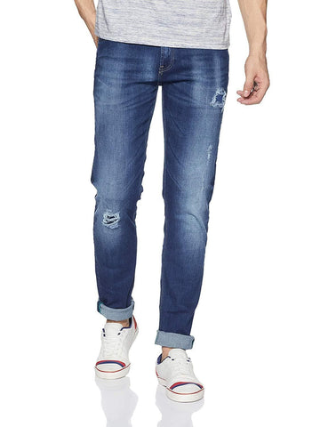 Zip fly Tapered Fit Damaged Blue Jeans