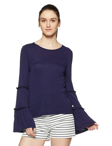 Regular Fit Long Sleeve 100% Viscose Top