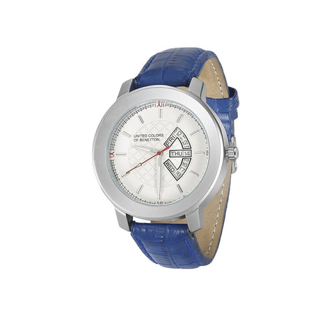 Date White Dial Blue Strap Unisex Analog Watch
