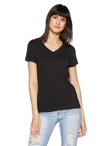 V Neck 100% Cotton Regular Fit T-Shirt