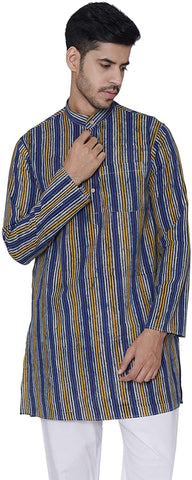 Full Sleeve Striped Jaipur Cotton Long Kurta