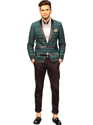 Dark Green Jacket With Grey Printed Shirt  by Abhishek Dutta