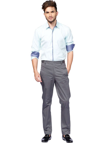 Pale Blue Shirt With Charcoal Pant By Anjana Anamika