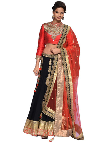 Red And Black Lehenga By Arun Dhall