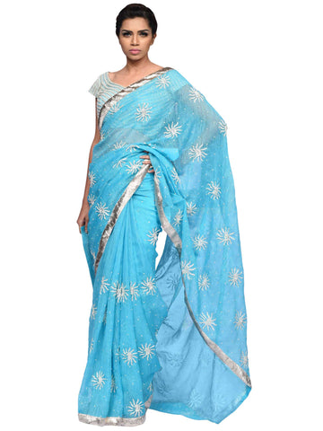 Blue And Silver Saree By Archana Nallam