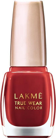 Red Glitter Finish Lakme True Wear Nail Color 404