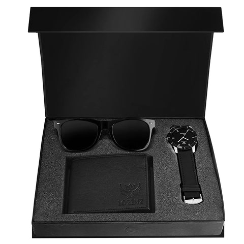 Combo of Black Wallet, Sunglasses & Watch