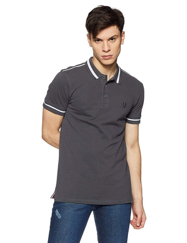 100% Cotton Stripped Collar Regular Fit Polo