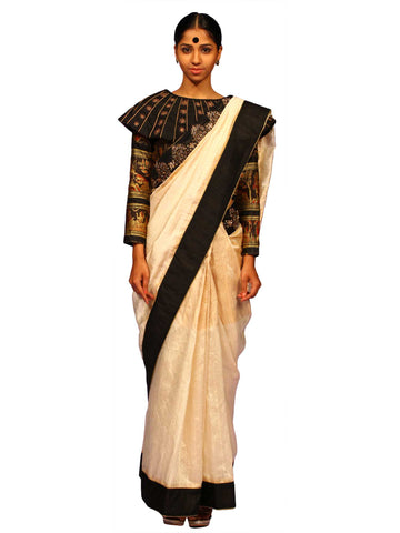 Off White Dupion Silk Saree by Chandri Mukherjee