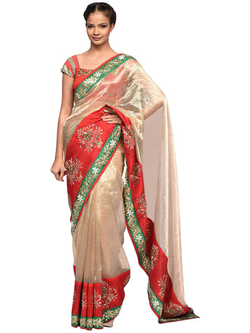 Red And Golden Saree By Archana Nallam