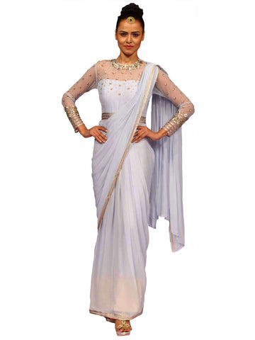 Aqua Grey Drape Saree by Nidhika Shekhar