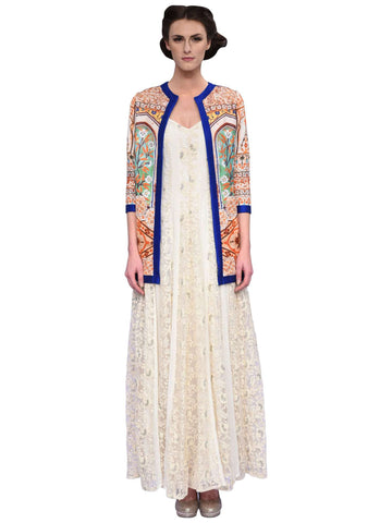 Off White Embroidered Kali Gown By Anita Nitin