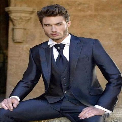 Navy Blue One Button Three piece Tuxedo Suit