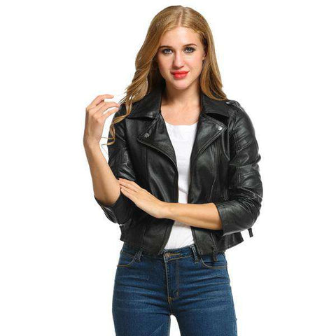 Short Zipper PU Leather Leather Jacket
